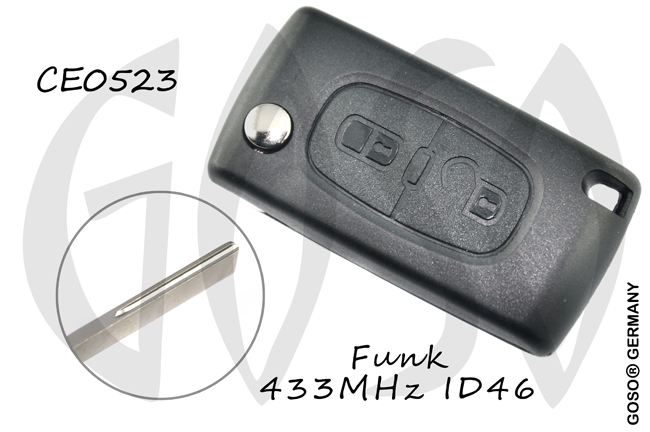 Citroen folding key housing blank HU83 6178-3
