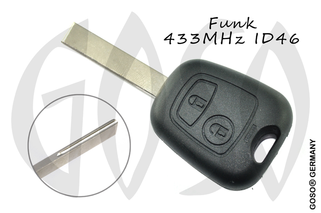 Remote Key for Citroen ID46 PCF7961 Leer radio key blank HU83 housing 2 button 6215