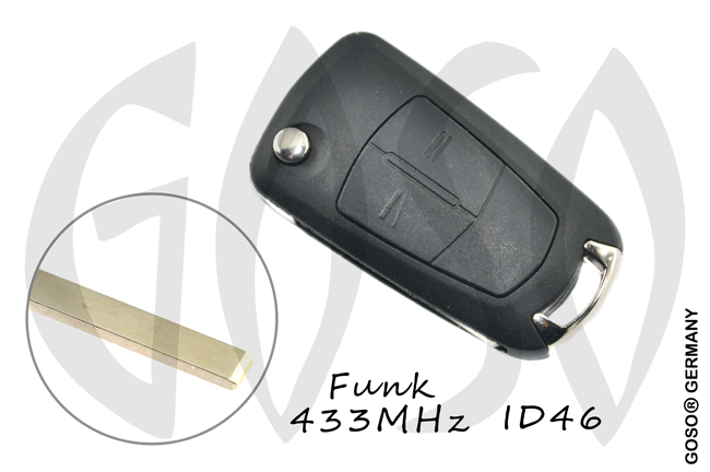 Opel remote key 433MHZ Transponder ID46 PCF7946 HU100 2 button  6376