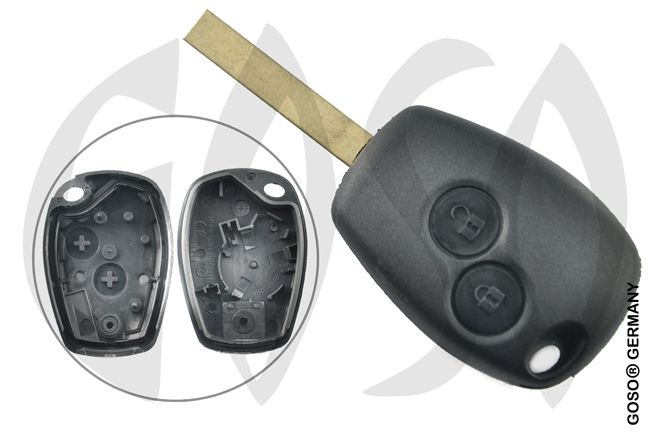 Renault remote key housing blank 2 buttons 6536