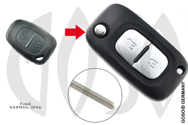 Renault Remote Key 433MHZ ASK ID46 PCF7946 2button 6789-2