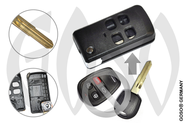 Kia Hyundai Key flip shell 4 button HYN7 KIA3 6994