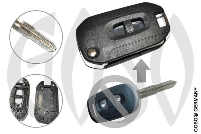 Chevrolet 2 Buttons Modified Flip Key Shell Captiva 7410