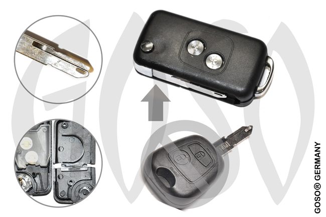 Peugeot funk key folding key housing 2 buttons NE 7588