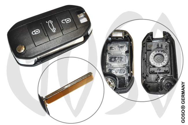 Peugeot remote key folding key 3 buttons 7724