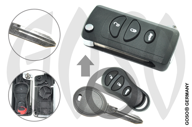 Chrysler 3 Buttons Modified Flip Key Shell 7816
