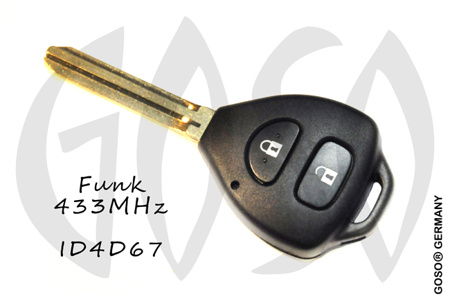 Toyota 2 button remote key blank shell 4D67 433MHz 7830