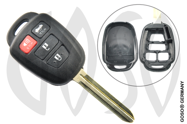 Toyota 4 button remote key blank shell 8066