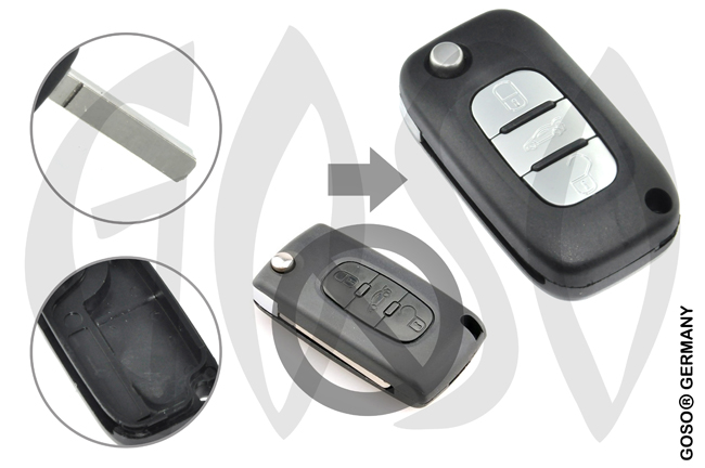 Citroen remote key housing blank 3 buttons 8202