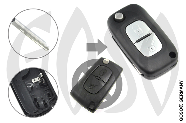 Citroen remote key housing blank 2 buttons 8608