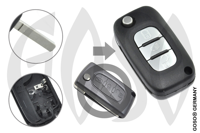 Citroen remote key housing blank 3 buttons 8639