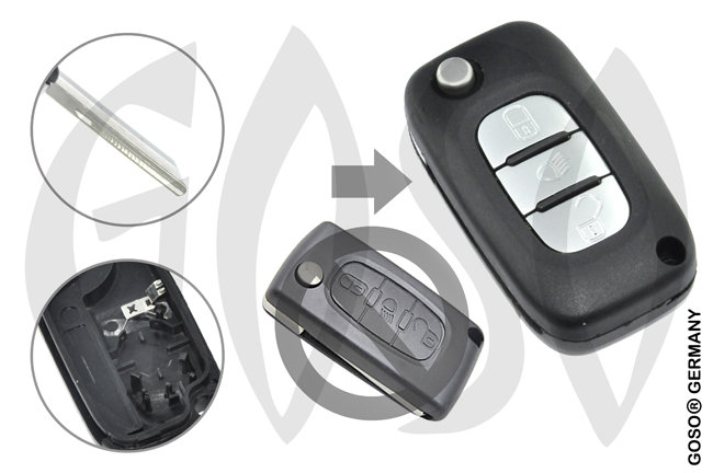 Citroen remote key housing blank 3 buttons 8653