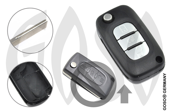 Citroen remote key housing blank 3 buttons 8691