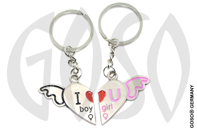 Keychain Love Heart Wings Boy Girl 8820