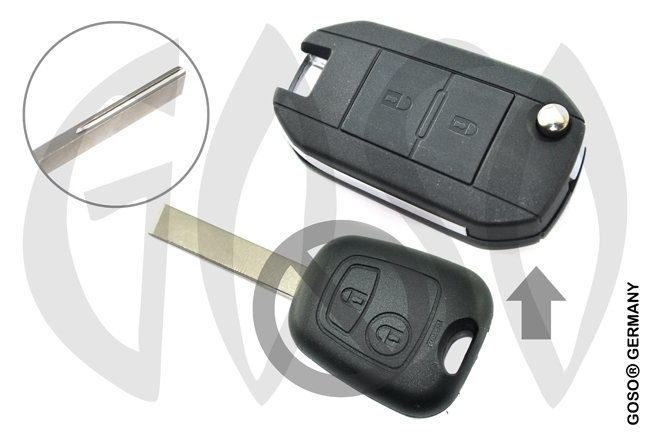 Citroen Peugeot modified flip remote key shell 2 button HU83 9414