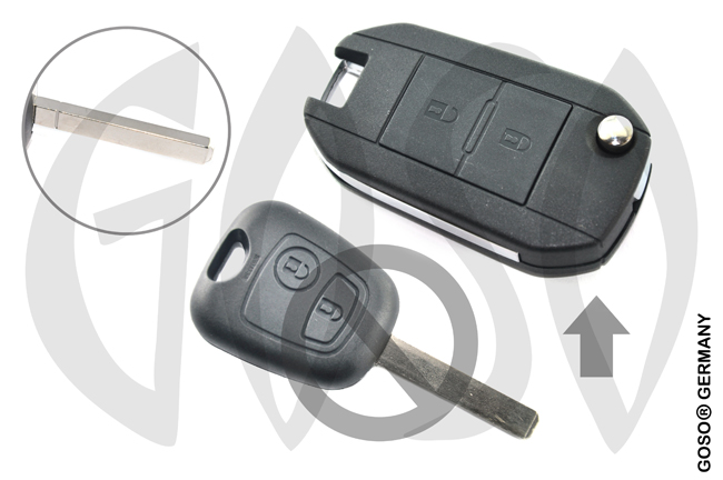 Citroen Peugeot modified flip remote key shell 2 button VA2 9421