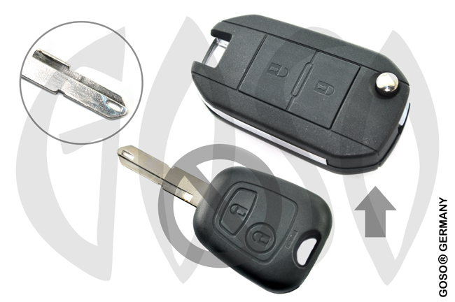 Citroen Peugeot modified flip remote key shell 2 button NE 9438