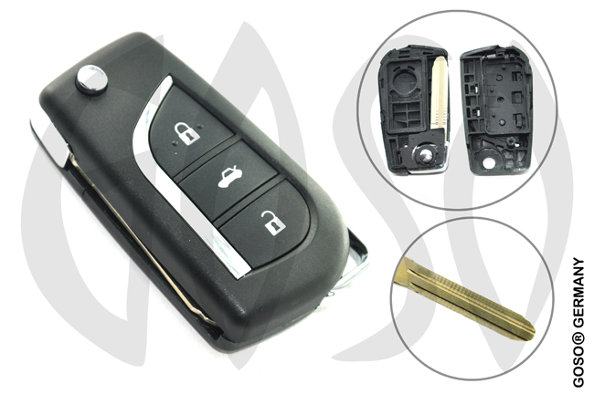 Key Shell for Toyota modified flip remote key shell 3 button 9483