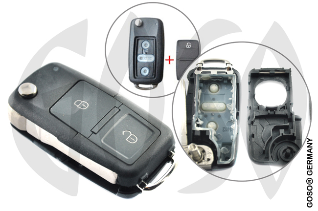 VW Seat key 2T blank shell after 2011 HU66  9544