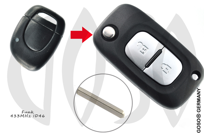 Renault Remote Key 433MHZ ASK ID46 PCF7946 2003+ 2Button 9643-3