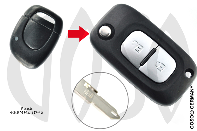 Renault Remote Key 433MHZ ASK ID46 PCF7946 1Button NE73 9643-4