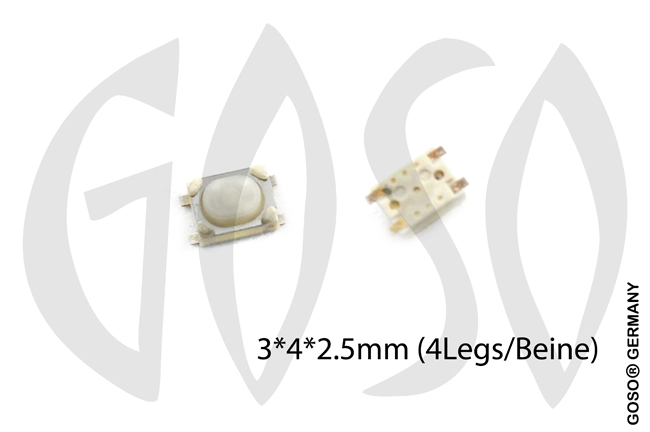 Micro key button 3*4*2.5mm 4 legs 9735-03