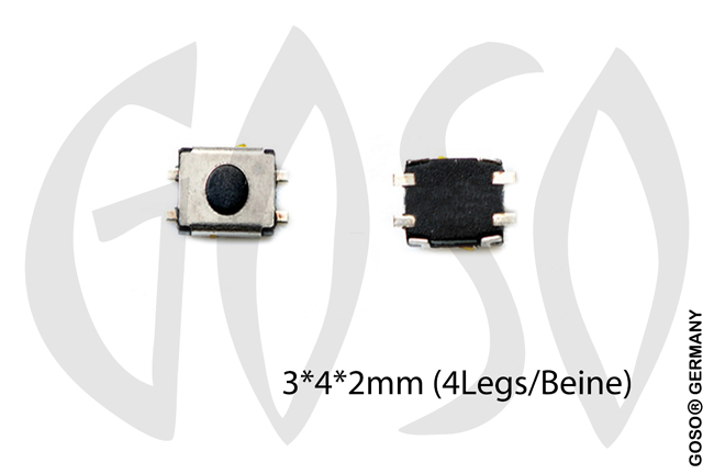 Micro key button 3*4*2mm 4 legs 9735-06