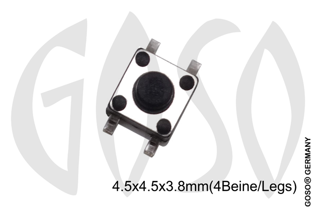 Micro key button 4.5*4.5*3.8mm, 4legs 9735-24