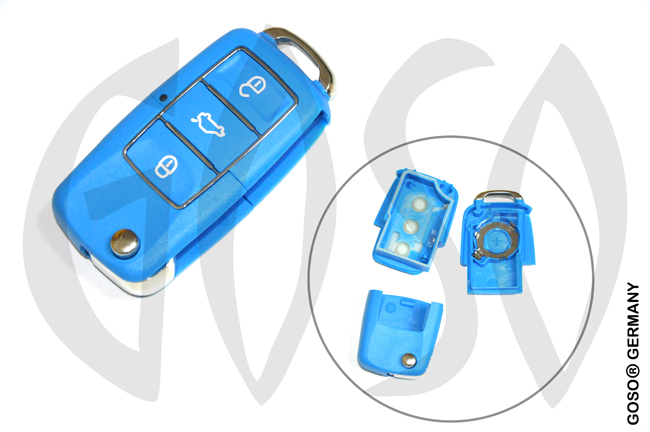 VAG Audi VW Seat Skoda key shell 3 buttons with waterproof blue 9865