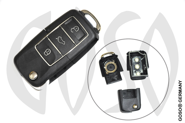 VAG Audi VW Seat Skoda key shell 3 buttons with waterproof black 9872