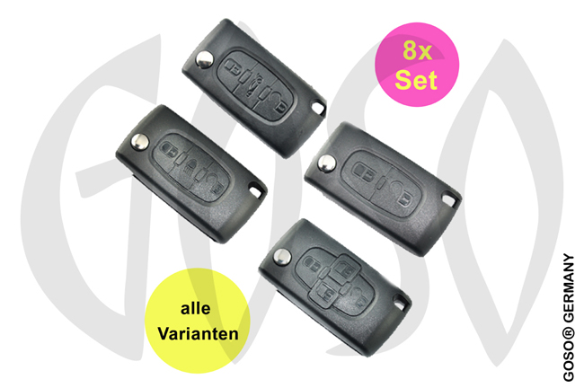 8x Citroen remote key folding key 2 3 4 buttons 2637