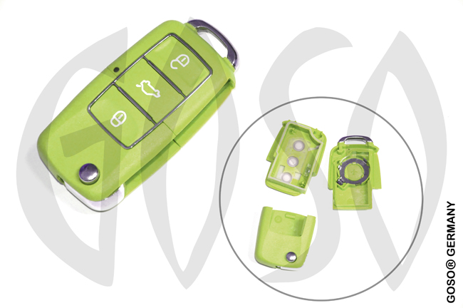 VAG Audi VW Seat Skoda key shell 3 buttons waterproof green 8049