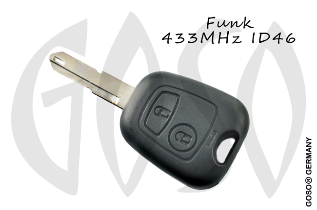 Citroen radio key blank NE housing 2 buttons 8520