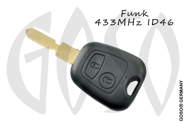 Citroen radio key blank NE78 housing 2 buttons 8537