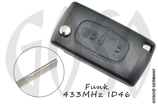 Citroen folding key blank HU83 ZF132