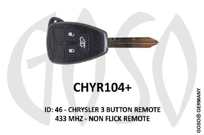 Chrysler Remote Key 433MHz ID46 PCF7961 3T  CHYR104+ ZR30