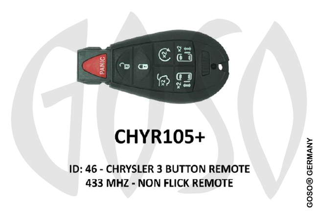 Chrysler Remote Key 433MHz ID46 PCF7961  3T  CHYR105+ ZR31