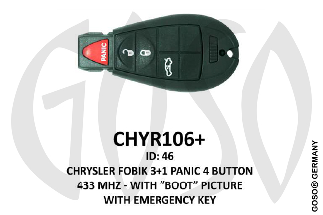 Chrysler Remote Key 433MHz ID46 3T PCF7961 CHYR106+ ZR32
