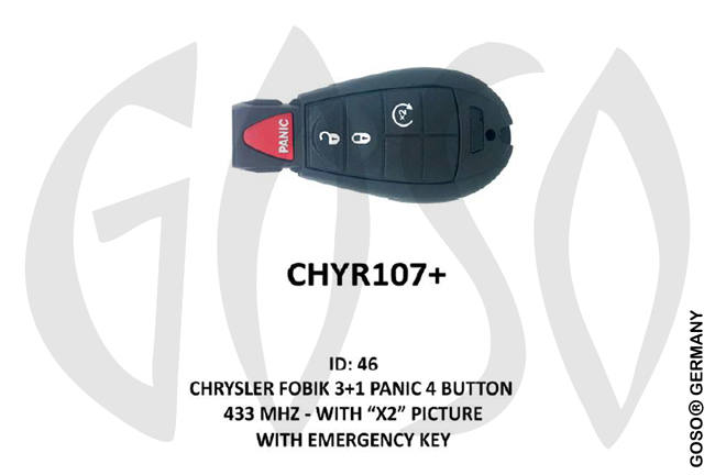 Chrysler Remote Key 433MHz ID46 3T  CHYR107+ ZR33