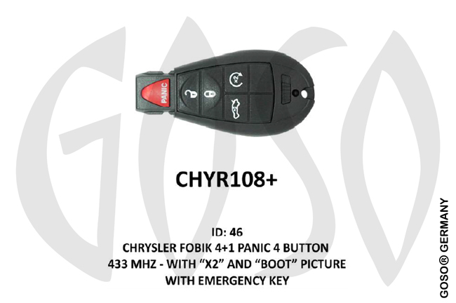 Chrysler Remote Key 433MHz ID46 4T  CHYR108+ ZR34
