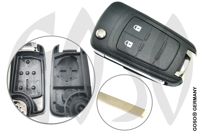 Remote Flip Key for Opel Buick Shell 2 Button HU100 6505