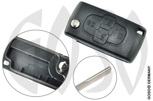 Key Shell for Peugeot remote key folding key 4 buttons HU83CRS7N 7625