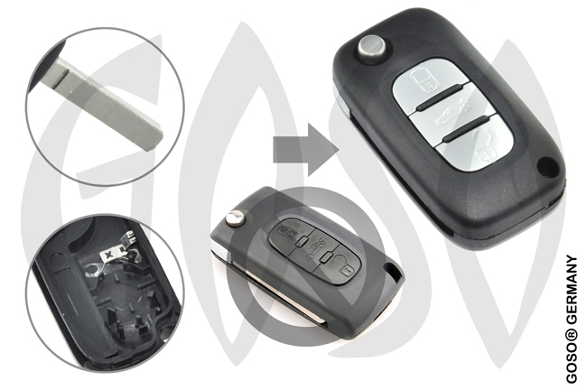 Key Shell for Citroen remote key housing blank 3 buttons 8585