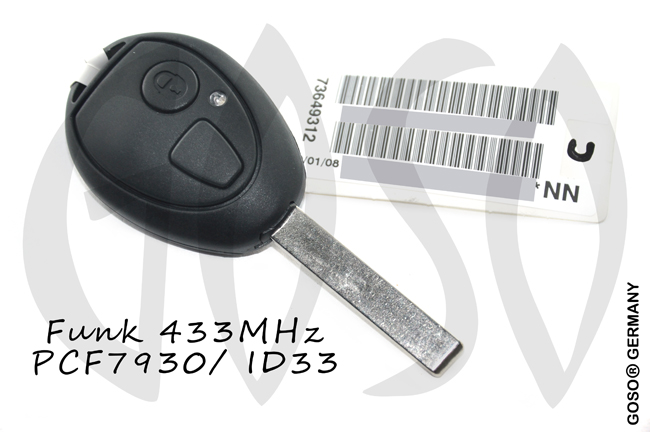 Remote Key for Rover BMW Mini ID73 ID33 PCF7935 PCF7931 EWS 2B 433MHZ with code 9315